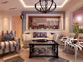 地中海客厅吊顶设计案例