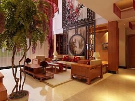 中式中式风格客厅背景墙沙发客厅沙发效果图