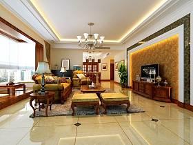 中式客廳沙發茶幾圖片
