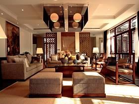 中式客廳沙發茶幾裝修圖