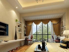 现代卧室窗帘电视背景墙设计图