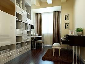 现代书房窗帘效果图