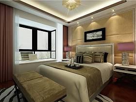 中式卧室吊顶窗帘设计案例