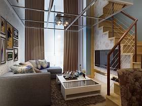 现代客厅楼梯电视背景墙案例展示