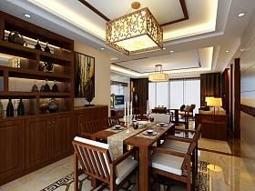 中式餐廳吊頂酒柜圖片