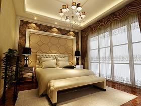 欧式卧室吊顶窗帘设计案例
