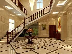 中式别墅过道楼梯效果图