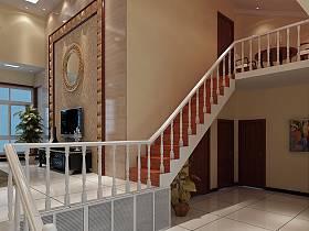 欧式客厅吊顶楼梯电视背景墙设计图