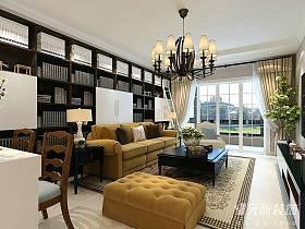 美式客厅吊顶窗帘案例展示