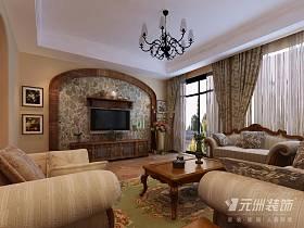 美式客厅复式楼窗帘电视背景墙设计案例