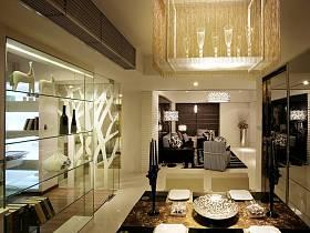 現代餐廳吊頂酒柜裝修效果展示