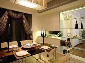 現代餐廳窗簾酒柜裝修案例