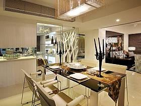 現代餐廳吊頂酒柜設計圖