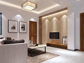 现代客厅单身公寓吊顶电视背景墙设计图