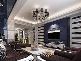现代客厅三室两厅两卫吊顶电视背景墙效果图