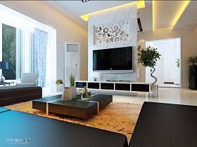 现代简约客厅吊顶窗帘电视柜电视背景墙设计案例