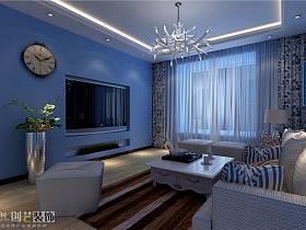 地中海客厅电视背景墙设计案例