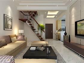 现代客厅吊顶楼梯电视背景墙案例展示