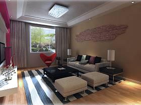 现代客厅吊顶窗帘电视柜装修图
