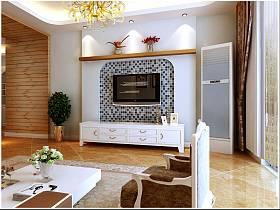 地中海混搭客廳電視柜電視背景墻裝修案例