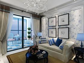 地中海客廳窗簾沙發臺燈門窗設計方案