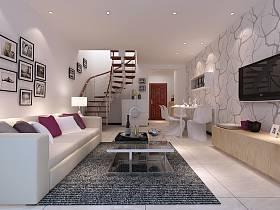 客厅吊顶楼梯电视背景墙设计图