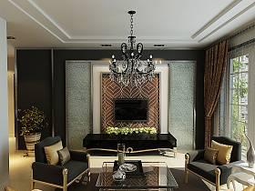 欧式客厅窗帘电视背景墙装修图