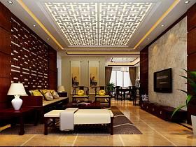 中式客廳吊頂電視背景墻裝修圖