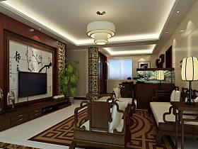 中式客厅吊顶电视柜电视背景墙效果图