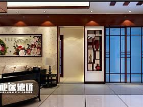 中式中式风格客厅过道三居设计图