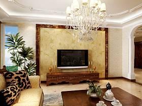 歐式簡約客廳電視背景墻設計圖