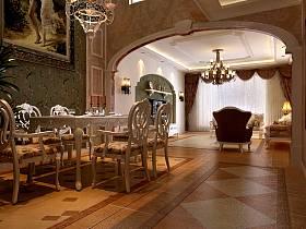欧式餐厅别墅电视背景墙效果图