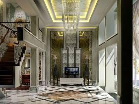 新古典客廳吊頂樓梯電視背景墻效果圖