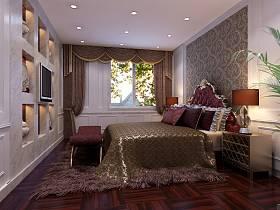 新古典卧室老人房吊顶窗帘装修案例
