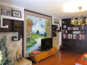 中式客廳吊頂電視背景墻設計圖