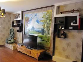 中式客廳電視背景墻設計案例
