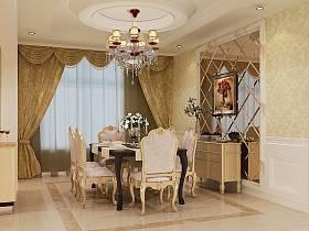 歐式餐廳吊頂窗簾圖片