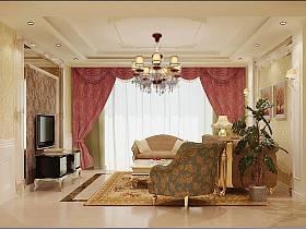 歐式客廳吊頂電視背景墻裝修圖