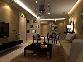 現代客廳吊頂電視背景墻設計方案