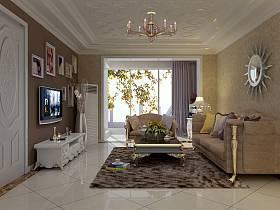 新古典客廳吊頂電視背景墻效果圖