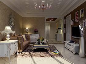 新古典客厅吊顶电视背景墙设计图