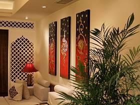 自然温馨客厅背景墙沙发壁纸装修案例