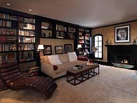 背景墙沙发单人沙发书架装修图