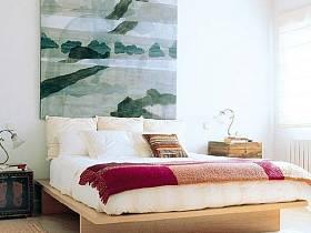 臥室背景墻畫框裝修效果展示