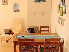 地中海餐桌木質餐桌燈具畫框設計方案