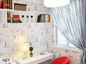 时尚卧室窗帘椅子小书桌椅壁纸设计案例展示