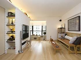 清新客廳背景墻實木家具木地板設計案例