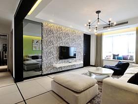 前衛客廳背景墻電視背景墻壁紙裝修圖