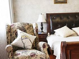 乡村风格卧室沙发单人沙发壁纸设计方案