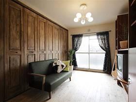 清新自然現代典雅客廳窗簾沙發木門設計案例展示